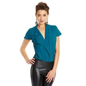 Guess by Marciano teal silk bodysuit blouse